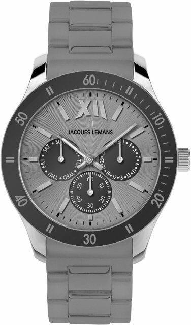 Jacques Lemans Rome Sports Uhr Herren Damen 1-1691 B Edelstahl mit Silikonband