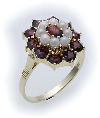 Damen Ring m. Granat u. Perlen in Gold 333 Gelbgold Granatring 8118/3GR.ZP