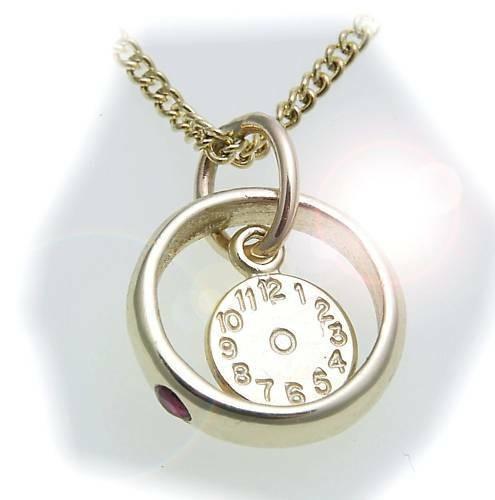 Taufring mit Uhr Rubin 333 Gold poliert ohne Kette Qualität