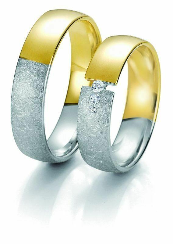 Trauringe Breuning Rainbow Collection 6237/6238 in 585 Gold weiß gelb 14 kt