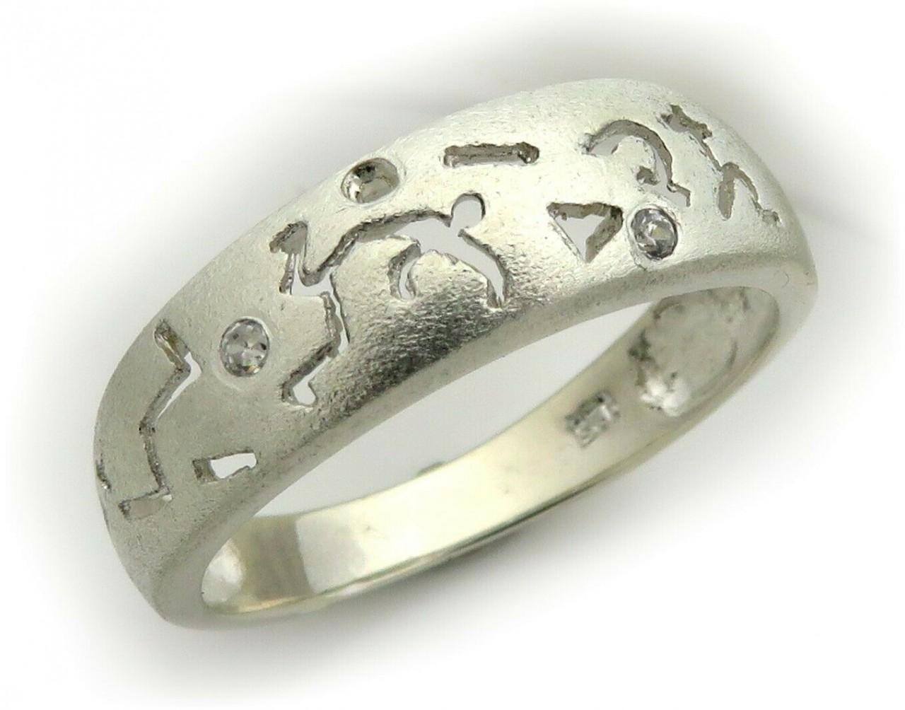 Ring Figuren Ajour echt Silber 925 Sterlingsilber Zirkonia Zeichen Sägearbeit