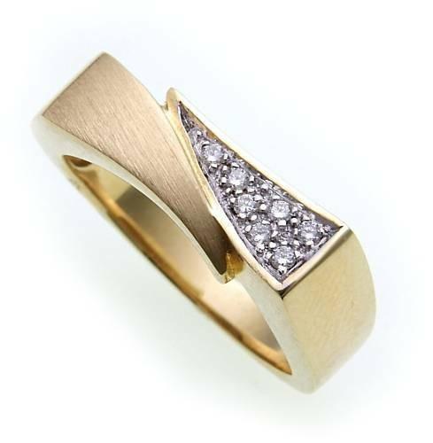 Damen Ring Brillant 0,08 carat echt Gold 585 teilmatt Gelbgold Qualität SI