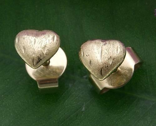 Kinder Ohrringe Stecker Herz diamant. 585 Gold massiv Gelbgold Qualität