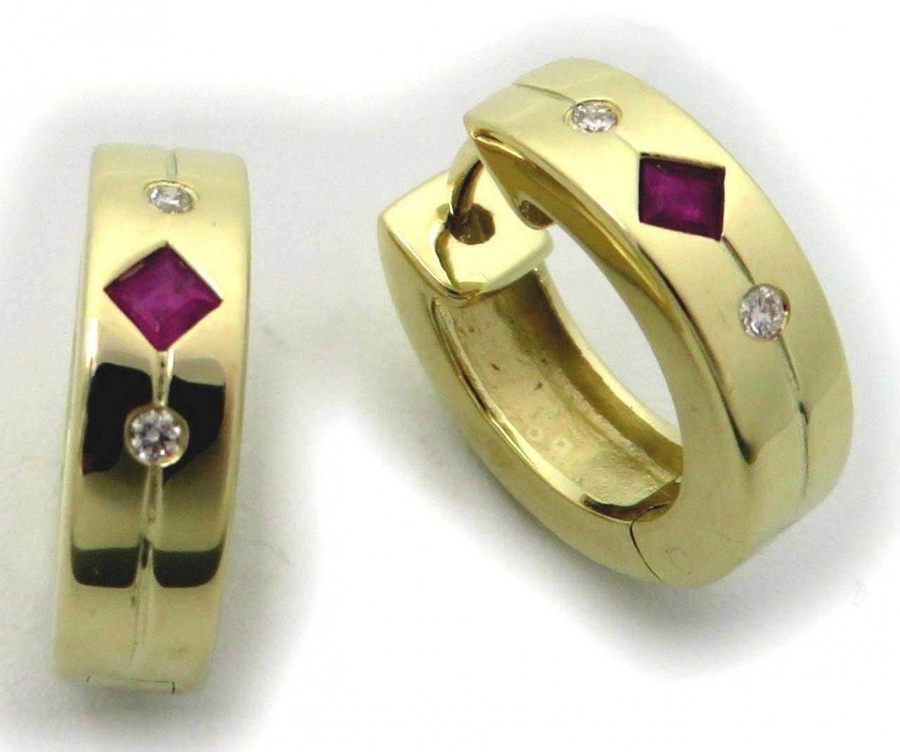 Neu Ohrringe Klapp Creolen Rubin Brillant 0,04 ct Gold 750 18kt Gelbgold Diamant