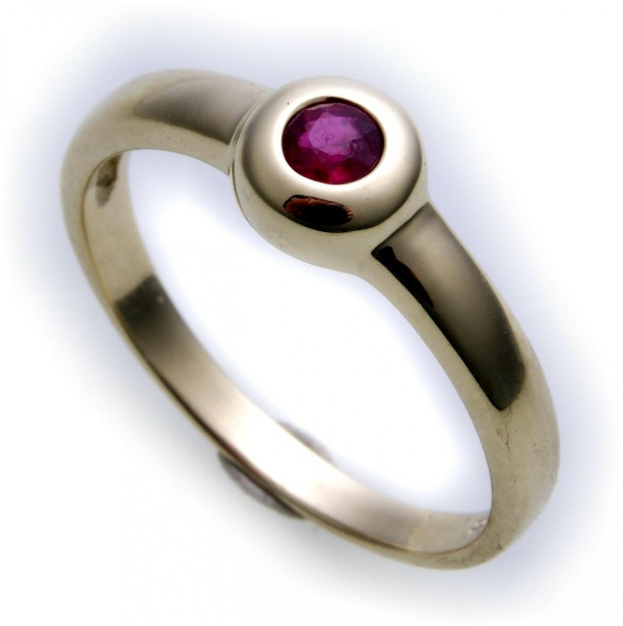 Damen Ring echt Gold 585 Rubin 14kt Juwelierqualität Gelbgold Einsteiner