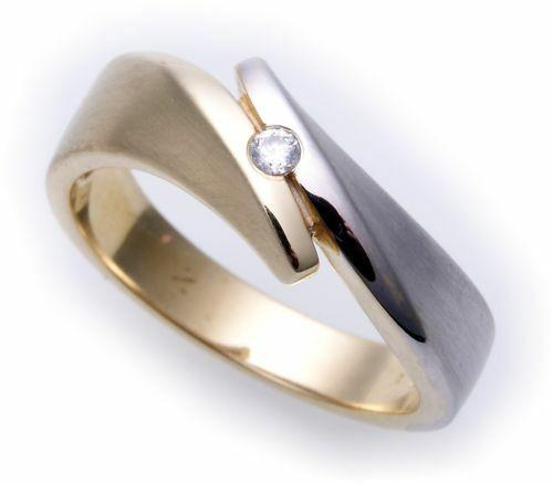 Damen Ring Zirkonia echt Gold 585 Bicolor massiv Gelbgold Qualität