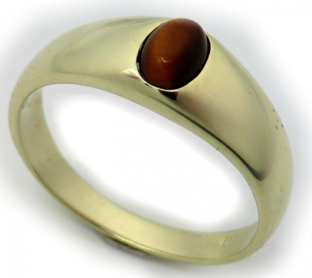 Herren Ring echt Gold 750 echt Tigerauge 18 karat Gelbgold Qualität Herrenring N