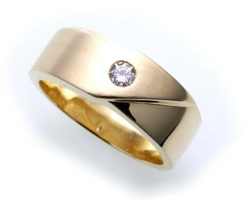 Herren Ring echt Gold 585 Zirrkonia teilmattiert massiv Gelbgold Qualität