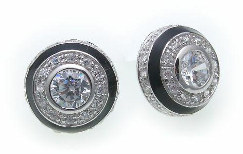 Damen Ohrringe Stecker Zirkonia Silber 925 schwarz Sterlingsilber Ohrstecker