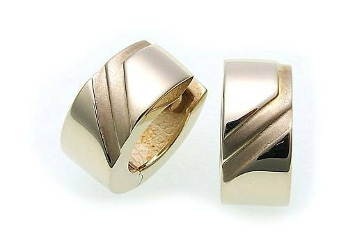Damen Ohrringe Klapp Creolen Gold 333 15mm teilmattiert 8kt Gelbgold
