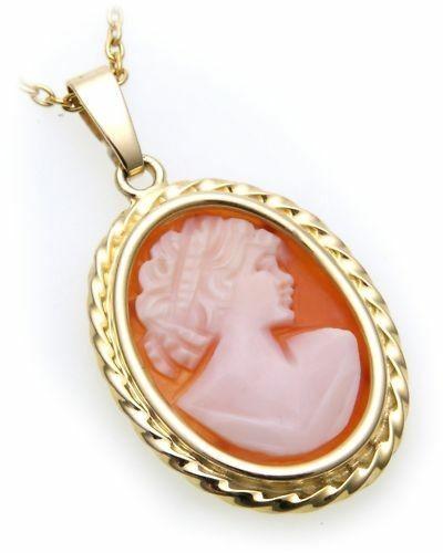 Damen Anhänger Muschelgemme Gold 585 Gemmenanhänger Gelbgold Granat