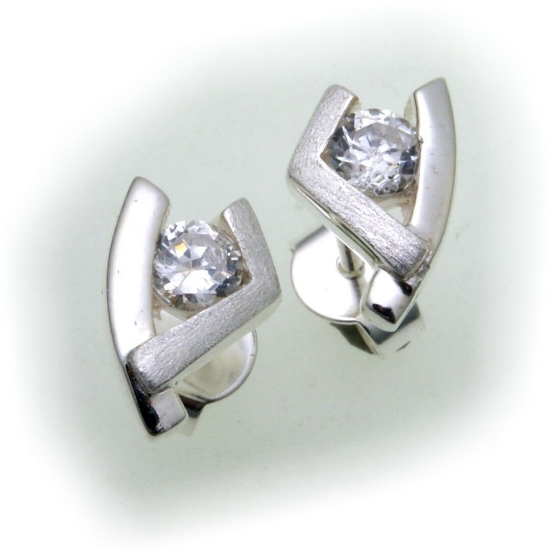Damen Ohrringe Zirkonia Silber 925 teilmatt Sterlingsilber Ohrstecker Stecker