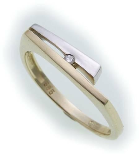 Damen Ring Brillant 0,02ct echt Gold 585 teilmatt Gelbgold Diamant SI