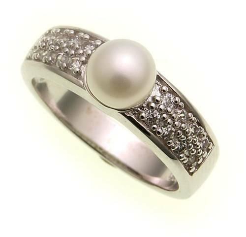 Damen Ring Zuchtperle echt Silber 925 mit Zirkonia Sterlingsilber