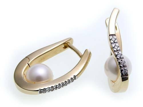 Damen Ohrringe Klapp Creolen Brillant 0.055 Gold 585 Perlen Diamant Gelbgold