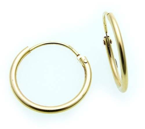 Ohrringe Creolen Gold 585 Glanz 15 mm Rohrform Gelbgold Unisex