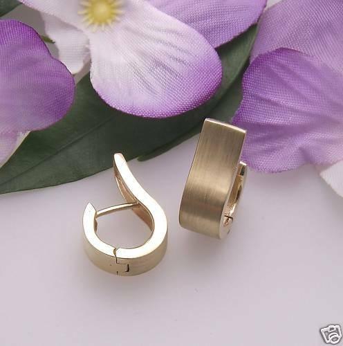 Damen Ohrringe Klapp Creolen echt Gold 750 18 karat matt Qualität Gelbgold Neu