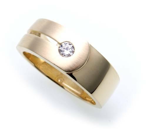 Herren Ring echt Gold 585 Zirkonia teilmattiert massiv Gelbgold Qualität