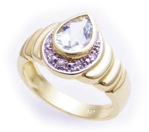 Damen Ring echt Aquamarin Brillant 0,08ct echt Gold 585 Gelbgold