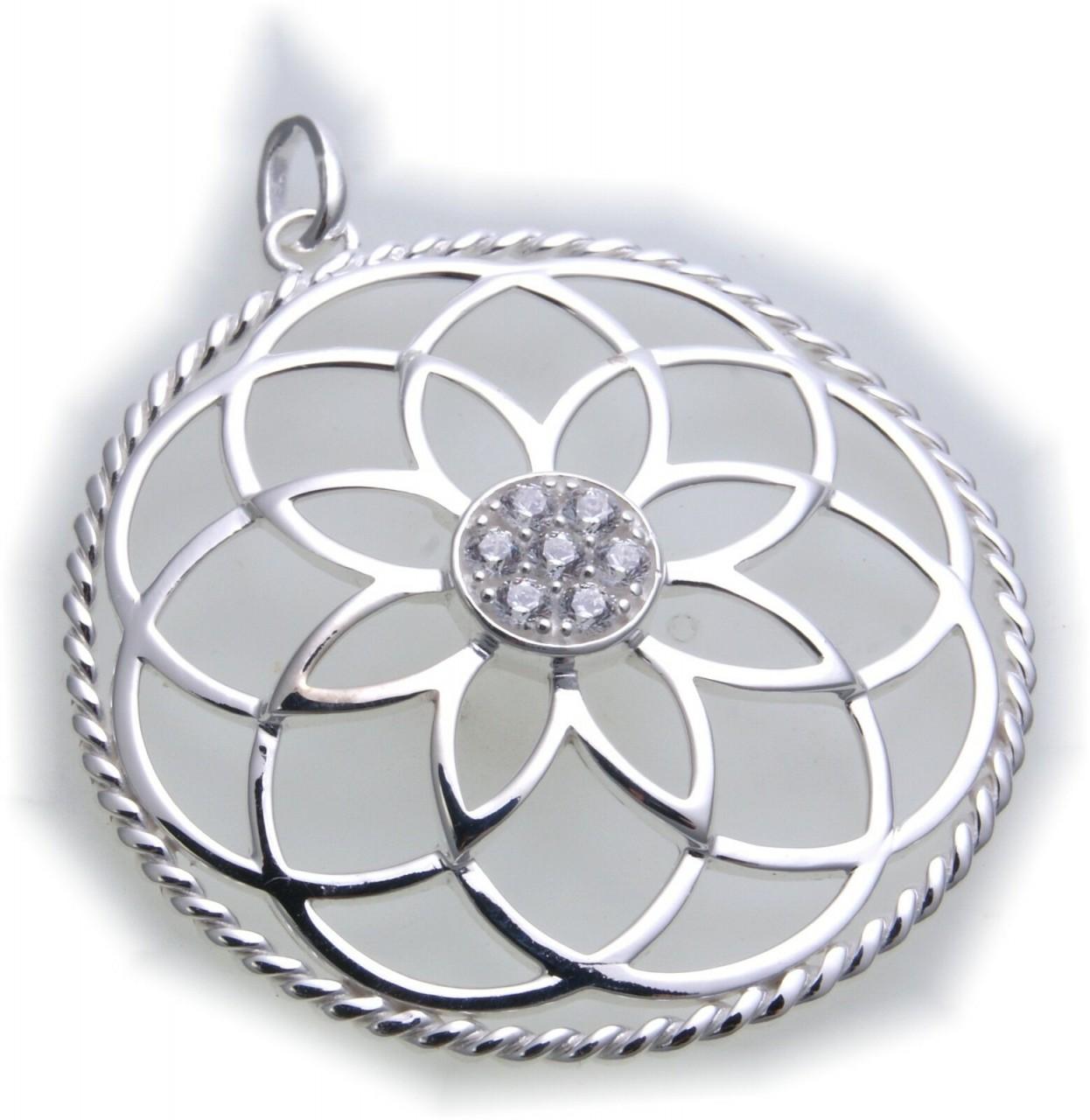 Anhänger Blume des Lebens in echt Silber 925 Sterlingsilber mit Zirkonia