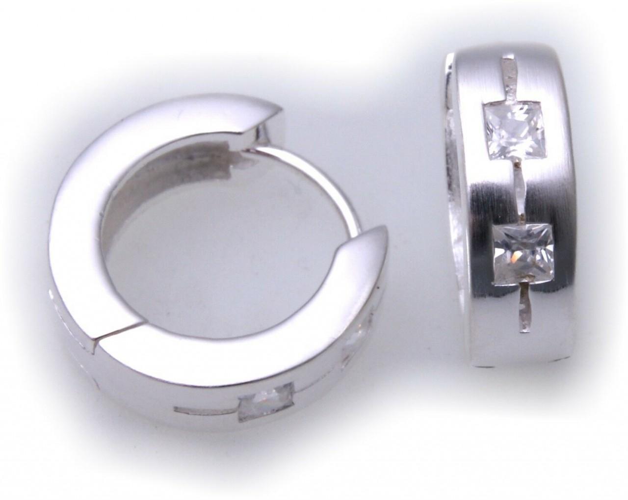 edle Ohrringe Klapp Creolen Zirkonia echt Silber 925 Sterlingsilber BE6763 ZI