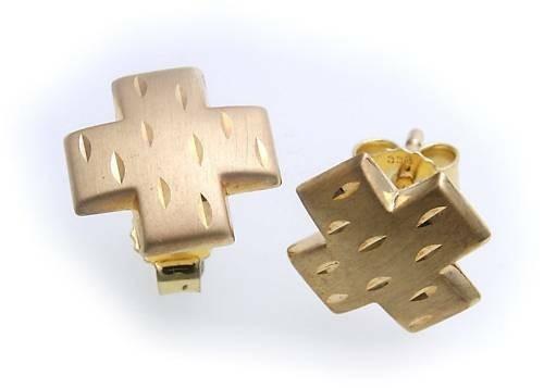 Ohrringe Ohr Stecker Kreuz Gold 333 mattiert diamant. Gelbgold Unisex