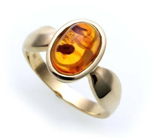 Damen Ring echter Bernstein aus de Ostsee echt Gold 585 Gelbgold Qualität 8091/5
