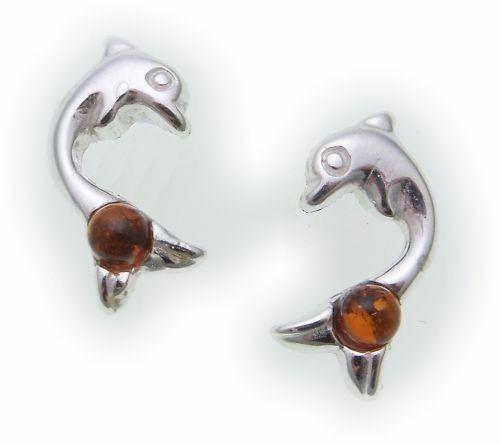 Damen Ohrringe Ohrstecker Bernstein echt Silber 925 Delfin Sterlingsilber
