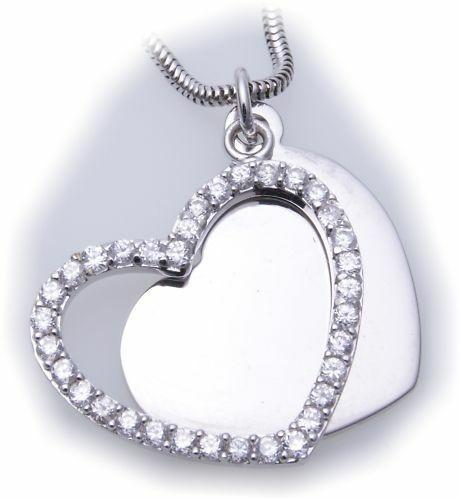 Anhänger echt Silber 925 Herz mit Zirkonia 2 teilig Sterlingsilber