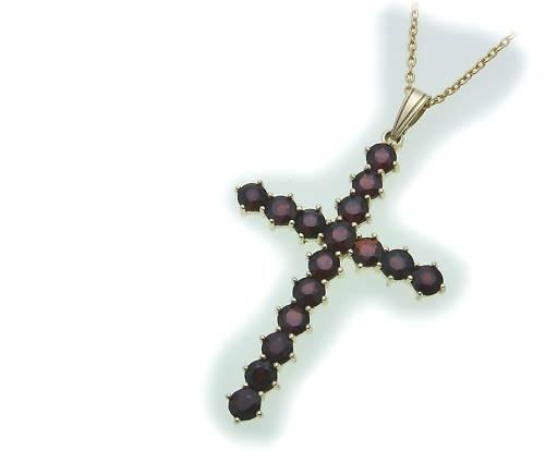 Kreuz m. Granat in Gold 585 Granatkreuz Anhänger Damen Gelbgold 9903