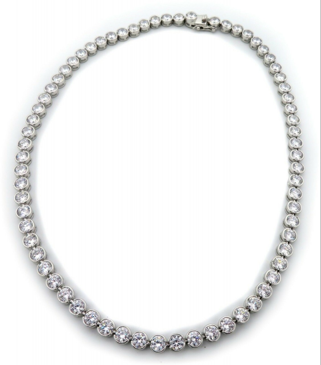 Damen Collier Tennis Silber 925 Sterlingsilber Halskette Zargenfassung Neu Kette