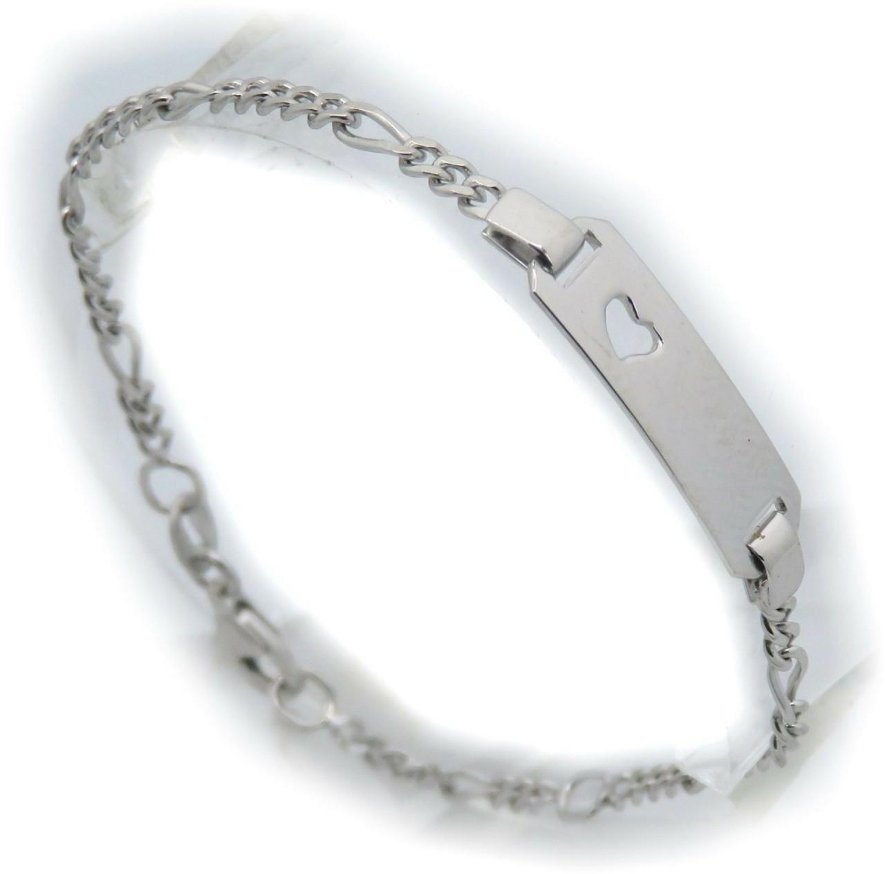 Kinderarmband Figarokette Herz 12-14 cm incl. Gravur echt Silber 925 Armband Neu