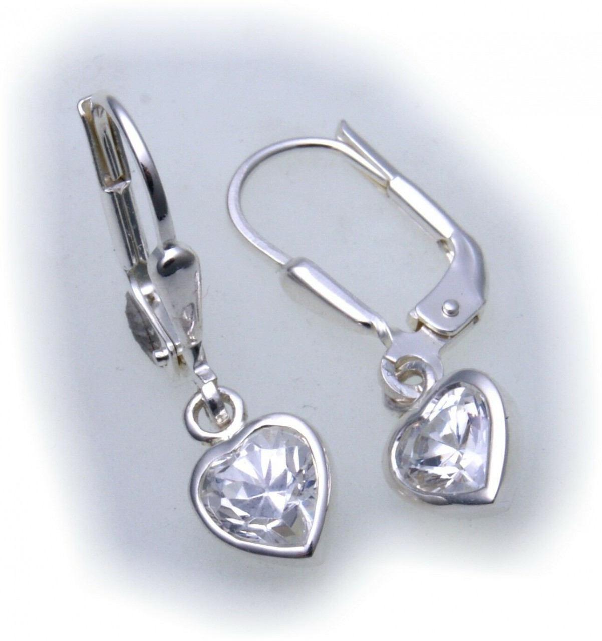 Damen Ohrringe Hänger Herz mit Zirkonia echt Silber 925 Sterlingsilber Z2317 ZI