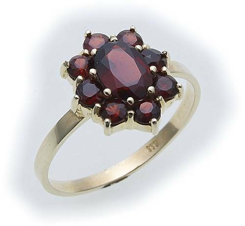 Damen Ring m. Granat in Gold 585 Gelbgold Granatring alle Weiten 8916/5GR