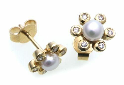 Damen Ohrringe Ohrstecker Perlen 4,5 mm Brillant Gold 333 Gelbgold Diamant
