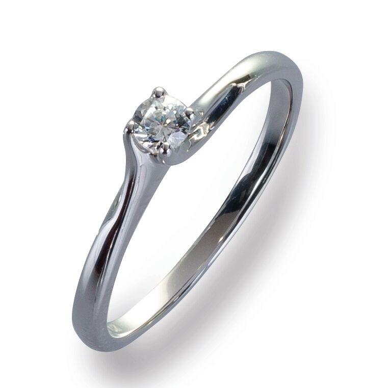 Damenring Ring Weißgold 585 Brillant 0.12 ct. Gold Diamant Viola Luxury