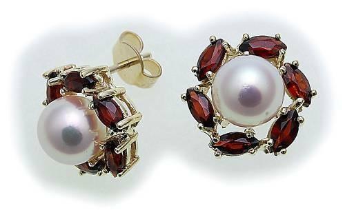 Damen Ohrringe Granat Zuchtperle Perlen in Gold 585 Gelbgold Ohrstecker 6874/5G