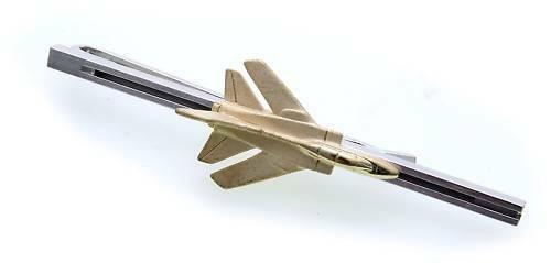 Krawattenhalter Kampfjet Flugzeug echt Silber 925 Sterlingsilber
