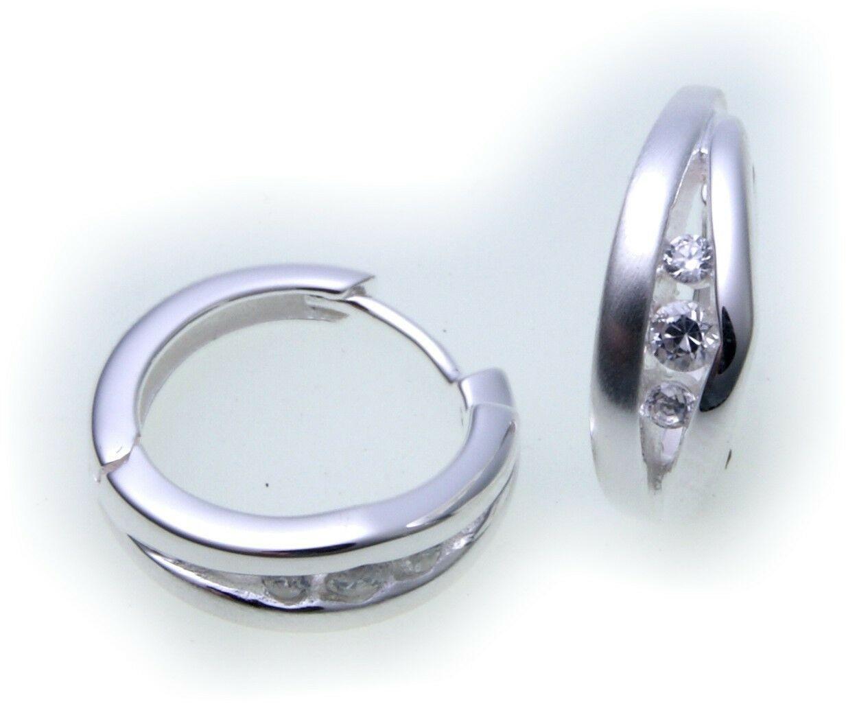 edle Damen Ohrringe Klapp Creolen Zirkonia Silber 925 Qualität Sterlingsilber