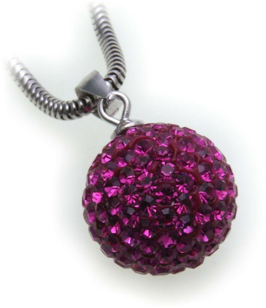 edler Anhänger echt Silber 925 Kugel mit Kristall pink Sterlingsilber Qualität
