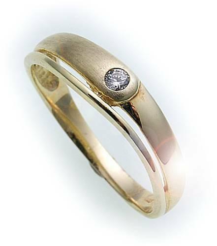 Kinder Ring Zirkonia echt Gold 333 stabil teilmatt Gelbgold Top Qualität