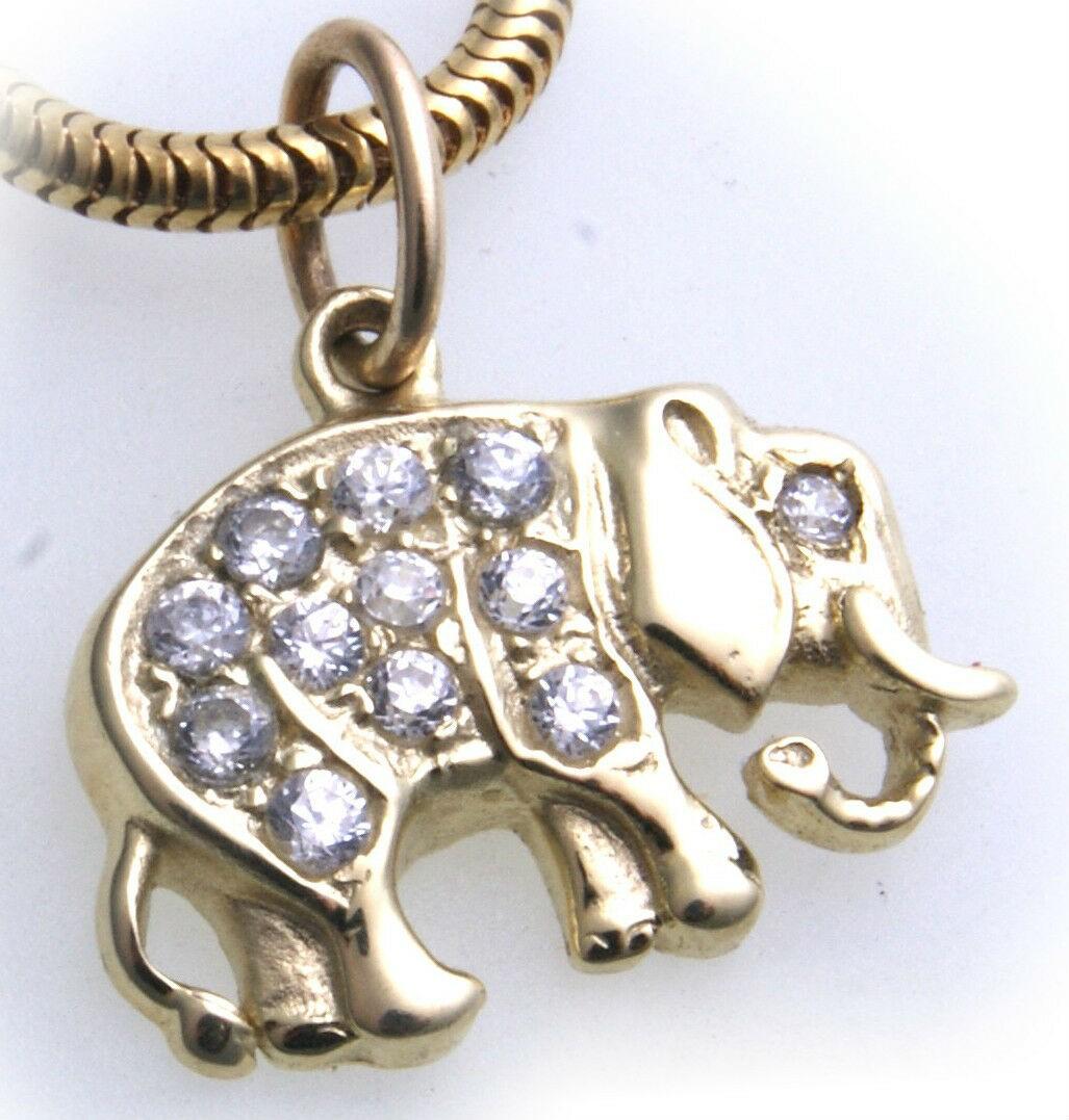 Anhänger echt Gold 585 Elefant Diamant 0,20ct Brillant Gelbgold Unisex er- NEU