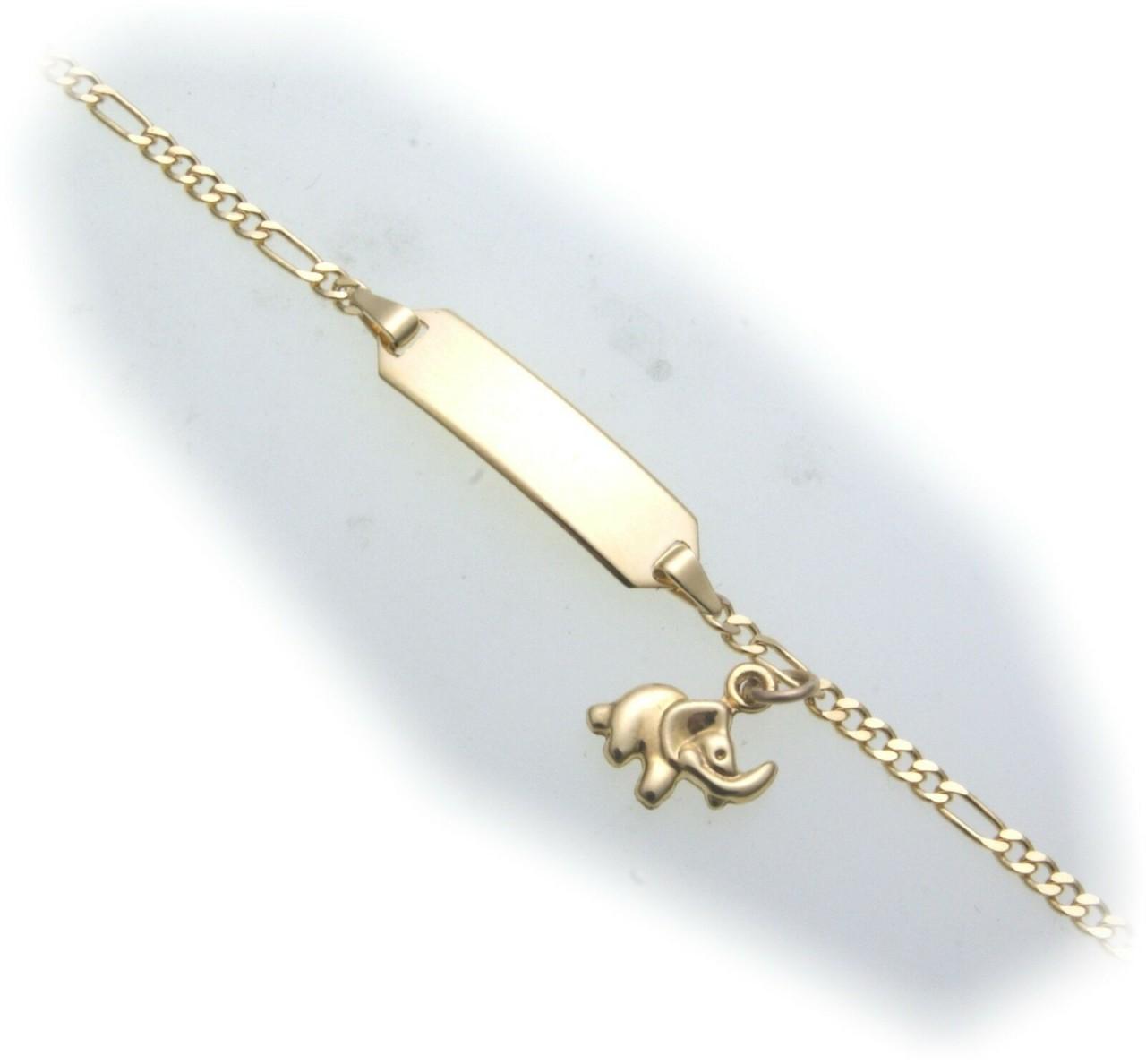Armband Kinder Elefant 14cm Gold 333 Gelbgold Schildarmband incl. Gravur ID Band