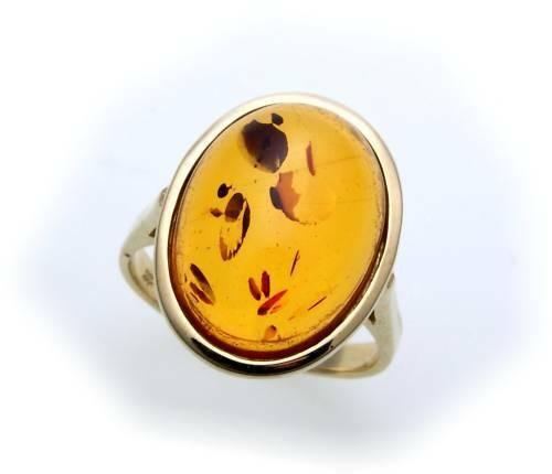 Damen Ring echter Bernstein aus de Ostsee echt Gold 585 Gelbgold 14k 8291/5BE