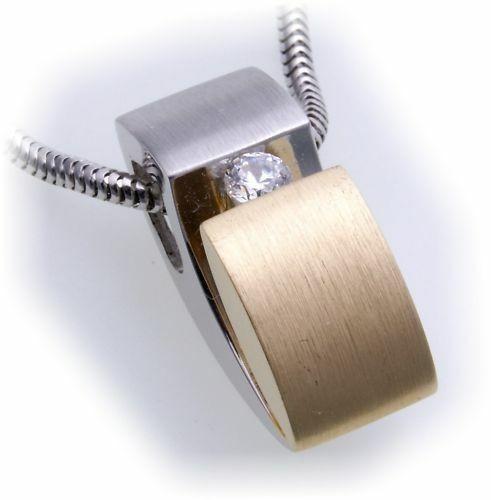 Damen Anhänger Brillant 0,12 ct echt Weißgold 585 massiv Diamant Gold