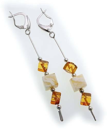 Damen Ohrringe Hänger echt Bernstein Würfel 80mm echt Silber Sterlingsilber AL23