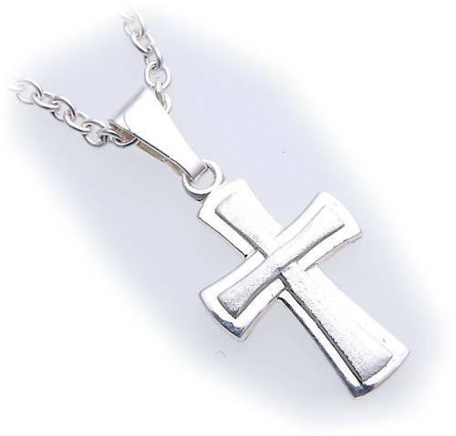 Anhänger Kreuz echt Silber 925 26 mm teilmattiert Sterlingsilber Unisex