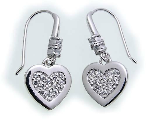 Ohrringe Hänger Herz echt Silber 925 Zirkonia Sterlingsilber Damen