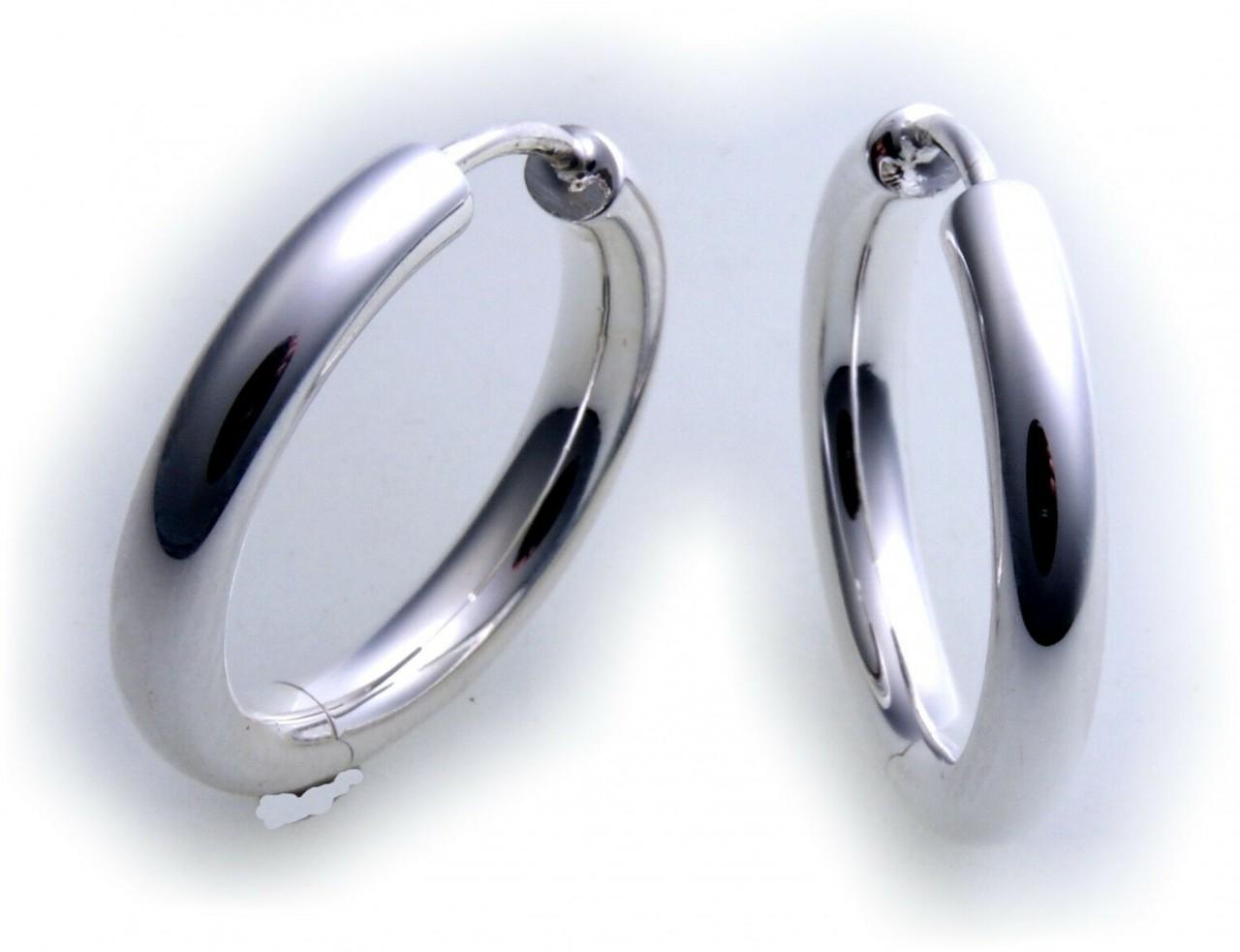 Ohrringe Klapp Creolen echt Silber 925 Sterlingsilber 21 mm