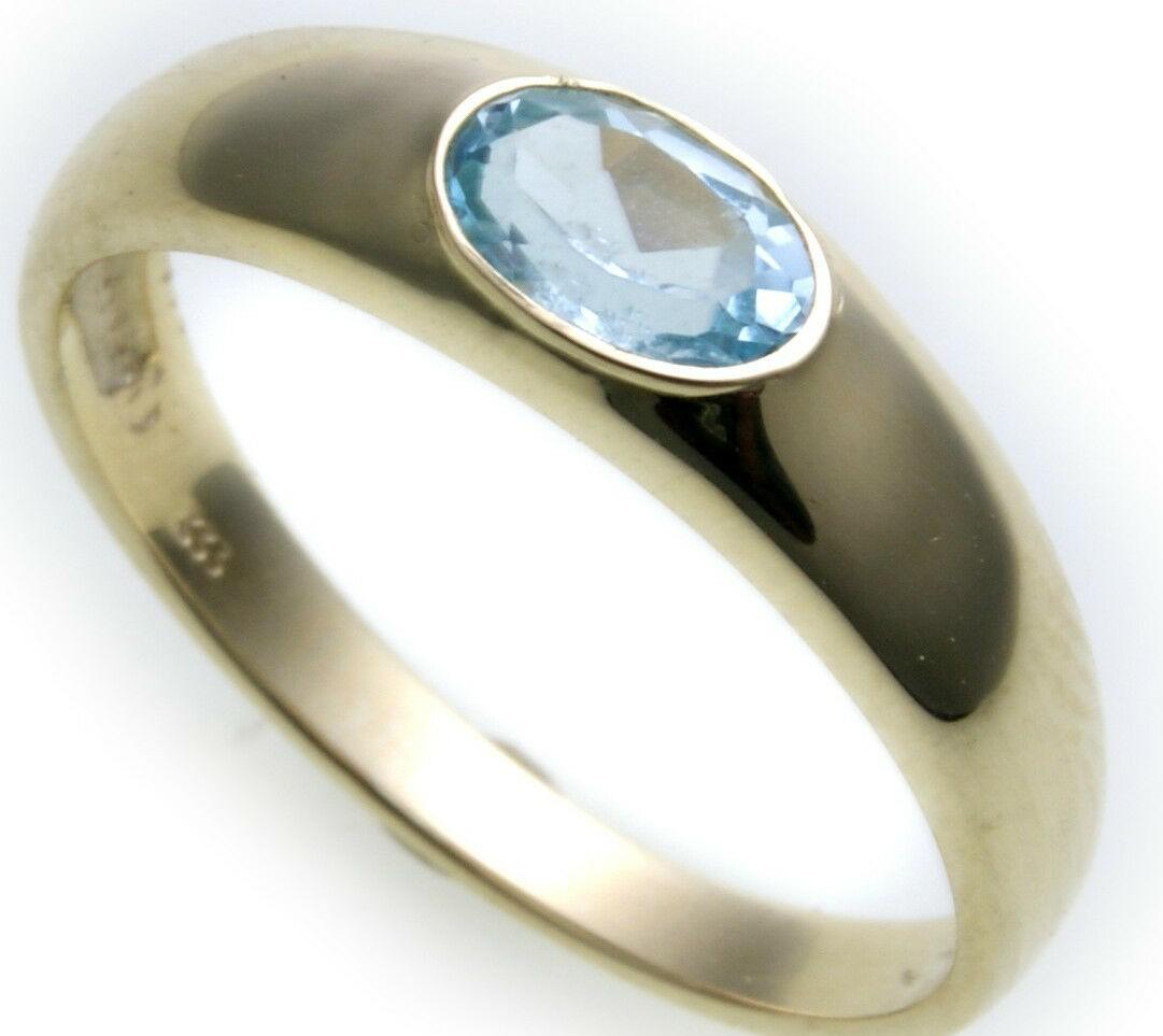 Bestpreis Damen Ring echt Gold 585 Topas 14kt Gelbgold Blautopas made Germany
